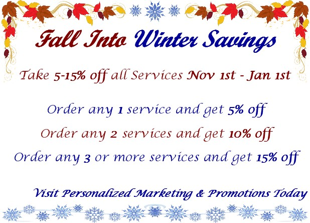 Personalized Marketing and Promotions Fall Into Winter Savings
