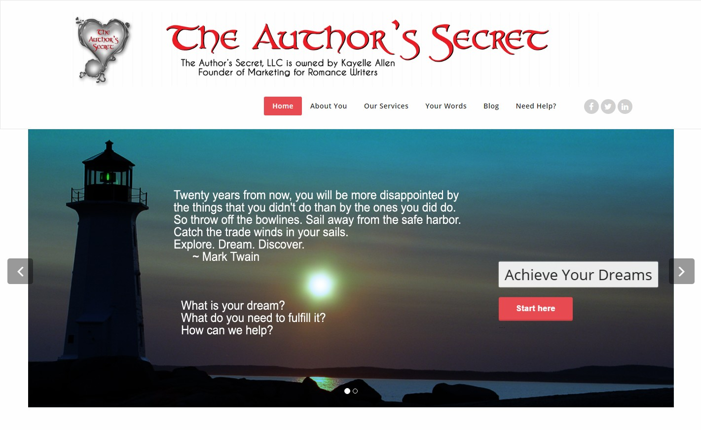 The Author's Secret Website Design