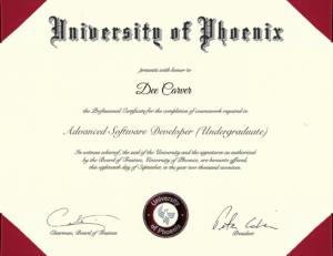 Advanced Software Development (Undergraduate) 3.84 GPA