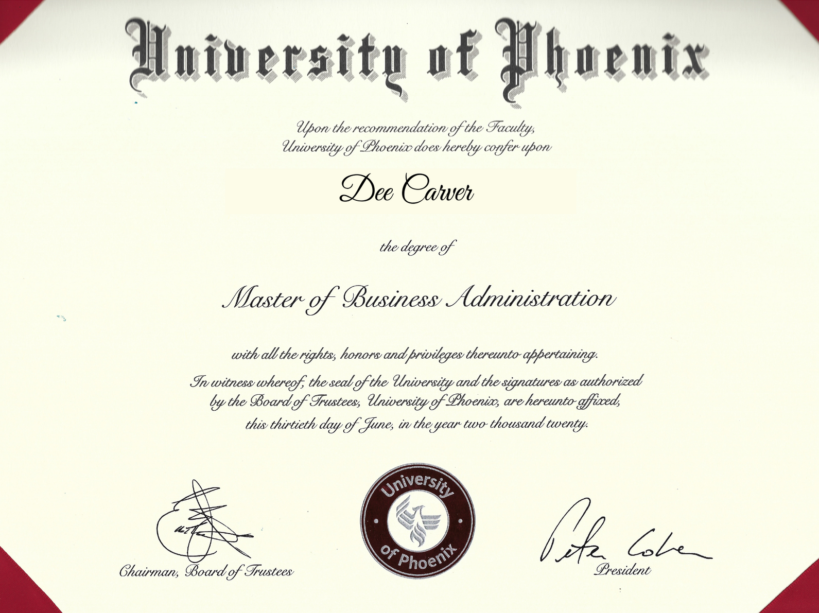 Master of Business Administration 3.71 GPA
